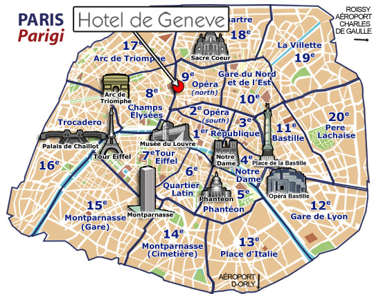 Hotels Paris, Mapa